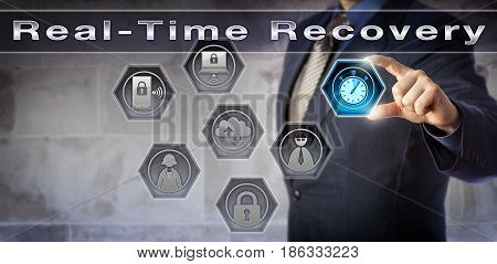 Blue chip disaster recovery planner managing business operations via Real-Time Recovery. Concept for server data recovery within minutes business continuity planning and improved recoverability.