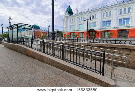 Editorial.Russia Siberia the city of Omsk May 12. 2017. A wheelchair ramp from the stopping complex on Lenin street