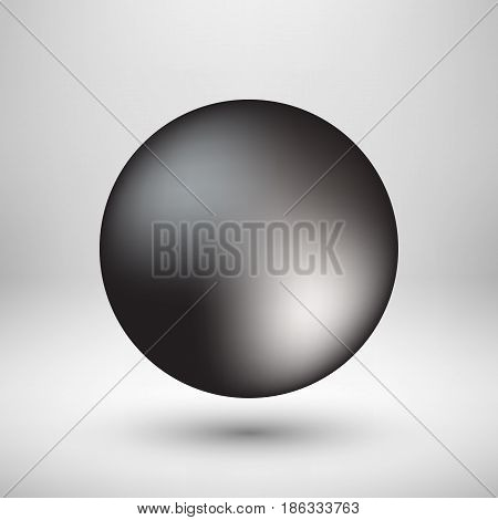 Black premium round bubble badge, sphere, ball, button template with realistic shadow, reflex and light background for logo, design concepts, banners, web, apps, prints. Vector illustration.