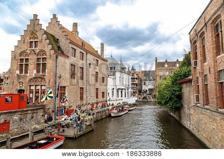 Touristic Boats On Brugge Canal