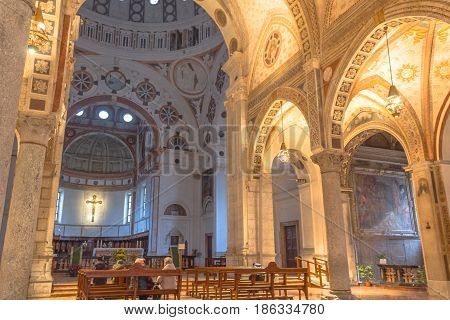Milan, Italy - November 15, 2016: nave of church Santa Maria Delle Grazie, hosting in it's refectory, The Last Supper mural painting by Leonardo da Vinci. left side.