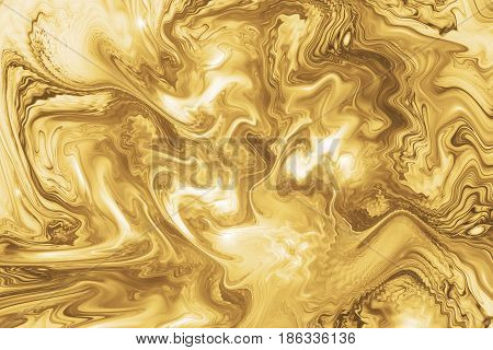 Abstract Intricate Swirly Golden Texture. Fantasy Fractal Background In White And Yellow Colors. Dig