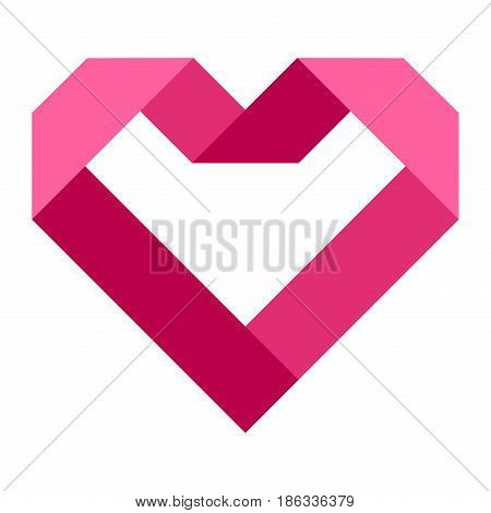 Heart shape vector icon simple red valentine symbol love sign romantic vector illustration. Abstract graphic passion decoration element volunteer charity symbol donation.
