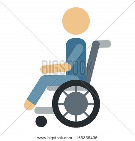 Trauma accident wheelchair safety vector human silhouette cartoon flat style man health medical treatment medicine care illustration isolated on white background.