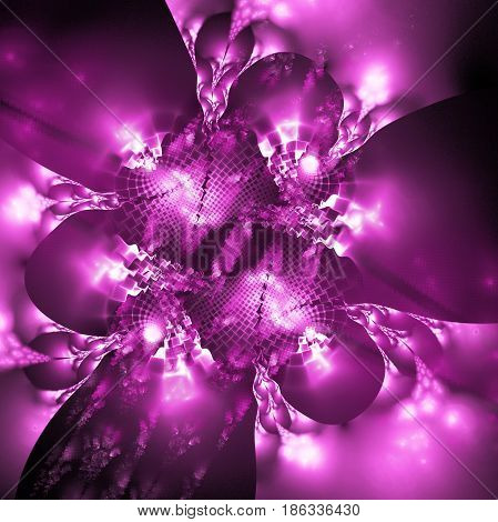 Exotic Purple Flower. Abstract Asymmetrical Floral Design. Fantasy Fractal Art. 3D Rendering.