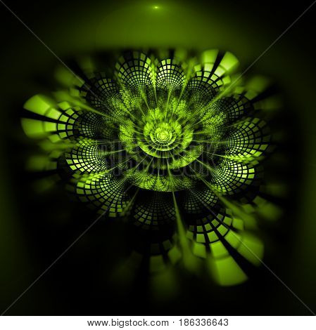 Abstract Exotic Flower With Textured Petals On Black Background. Fantasy Fractal Design In Bright Gr