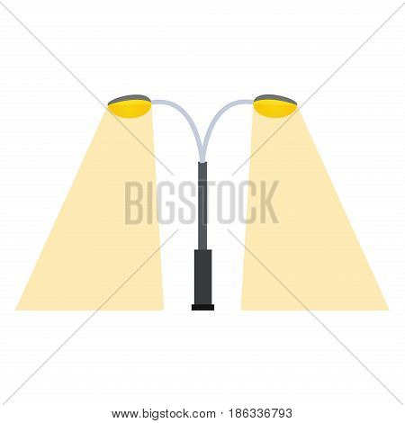 Street lamp silhouette retro metal object electricity industry. Vintage flat classic night equipment traditional road exterior vector illustration.