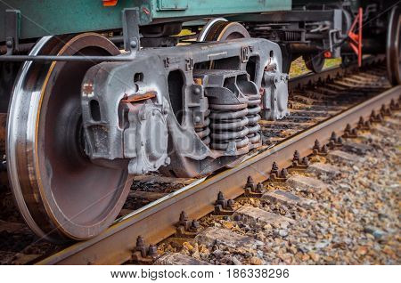 Industrial Rail Train Wheels Closeup Technology Train Rail Road.