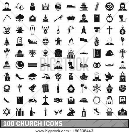 100 church icons set in simple style for any design vector illustration