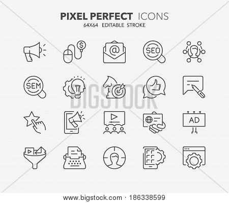 Thin line icons set of marketing advertising and promotional campaigns. Outline symbol collection. Editable vector stroke. 64x64 Pixel Perfect.