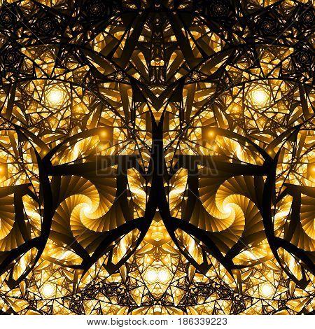 Abstract Intricate Golden Mosaic Ornament. Fantasy Fractal Background. Digital Art. 3D Rendering.
