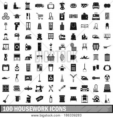 100 housework icons set in simple style for any design vector illustration