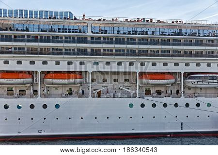 Piraeus Greece - October 2015: Large cruise ship Mein Schiff in the port of Piraeus Athens.