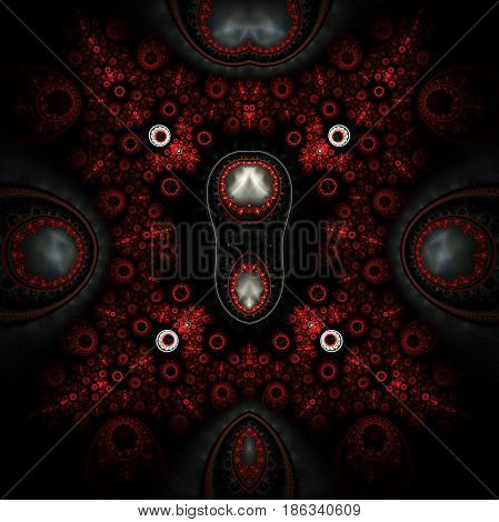 Abstract Ornamented Mechanism. Fantasy Detailed Fractal Steampunk Background In Red, Silver And Blac