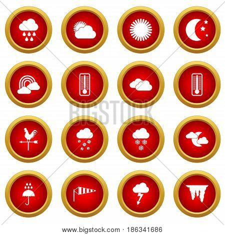 Weather icon red circle set isolated on white background