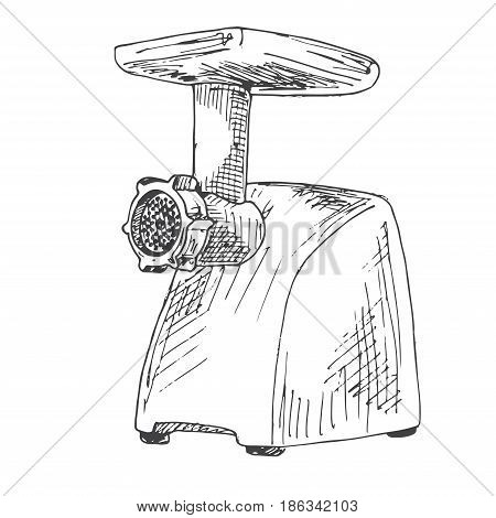 Mincer isolated on white background. Vector illustration of a sketch style.