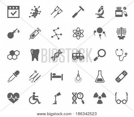 Medicine, icons, monochrome, vector. Medical services specialization. The profession of doctors. Medical instruments. Dark grey, flat pictures on a white background.