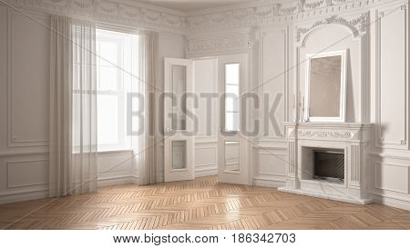 Classic empty room with big window fireplace and herringbone wooden parquet floor vintage white interior design, 3d illustration