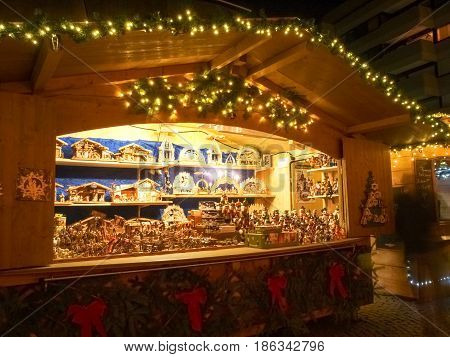 Funfair And Huts For The Christmas Market