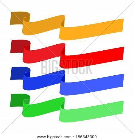 Banner color set. Emblem modern symbol of business. Set blank sticker labeling. Elegant form of the logo for sale. Colorful template for badge tag wrapping etc. Design element. Vector illustration