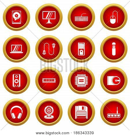 Computer icon red circle set isolated on white background