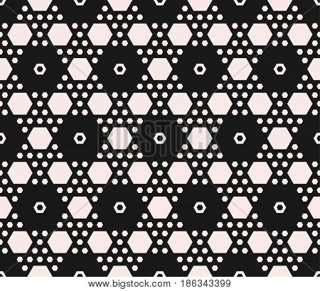 Vector monochrome texture, geometric seamless pattern with hexagons. Contrast abstract background with different sized hex, symmetric hexagonal structure. Design for covers, prints, decor, textile, fabric, digital, web
