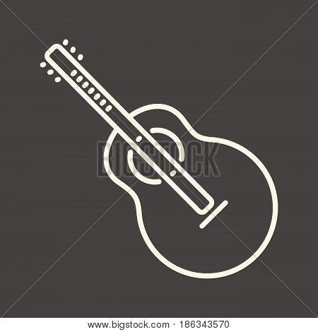 White outline guitar icon vector acoustic guitar symbol