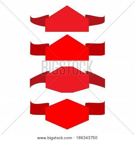Banner red set. Emblem modern symbol of business. Set blank sticker labeling. Elegant form of the logo for sale. Colorful template for badge tag wrapping etc. Design element. Vector illustration