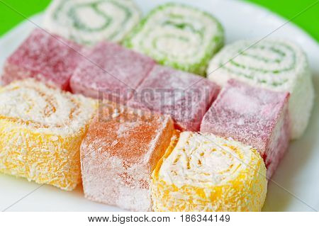Turkish Delight Lokum. Sweet Turkish delight lokum traditional dessert.
