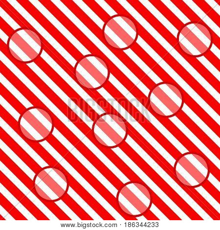 Circle on red striped seamless pattern. Fashion graphic background design. Modern stylish abstract texture. Colorful template for prints textiles wrapping wallpaper website. Vector illustration