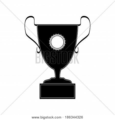 Cup reward isolated. Modern symbol of victory and award achievement sport. Insignia ceremony awarding of winner tournament. Monochrome template for badge tag etc. Design element. Vector illustration