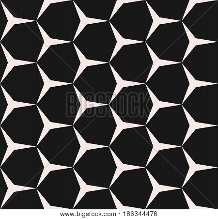 Geometric seamless pattern, vector monochrome texture with simple geometrical shapes, triangles, hexagons. Illustration of angular mesh, repeat tiles. Dark design element for prints, decor, textile, fabric, cloth, digital