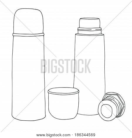 Sketch of a thermos. Vector illustration. Isolated on white background.