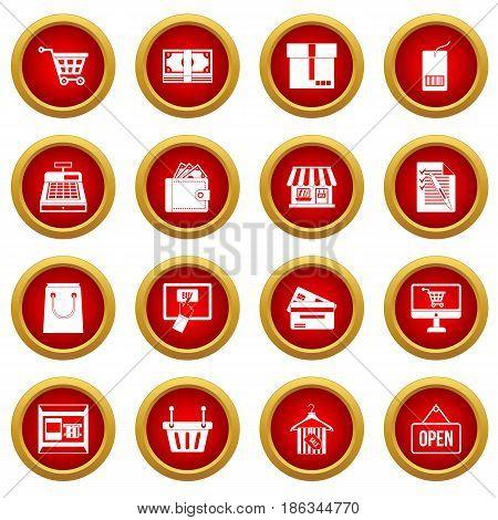 Shopping icon red circle set isolated on white background