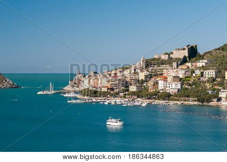 View of Portovenere, small town in Liguria (northern Italy)