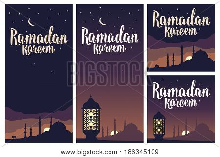 Set vertical, square posters Ramadan kareem lettering with lamp, minarets, crescent and star in night sky. Vintage hand drawn illustration for poster, banner. Isolated on dark background