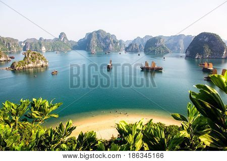Sunny view of Halong Bay from the summit of a limestone island