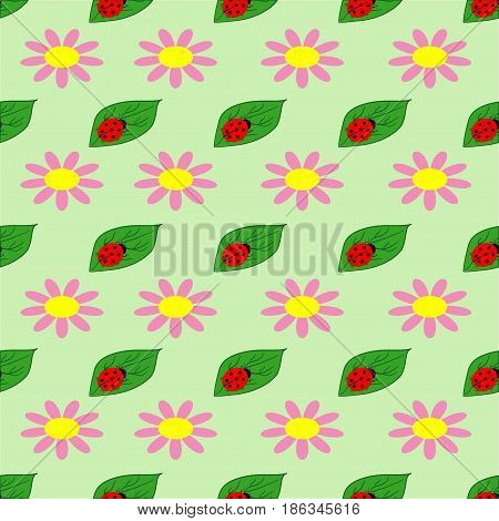 Ladybug and flower seamless pattern. Fashion graphic background design. Modern stylish abstract texture. Colorful template for prints textiles wrapping wallpaper website etc. Vector illustration