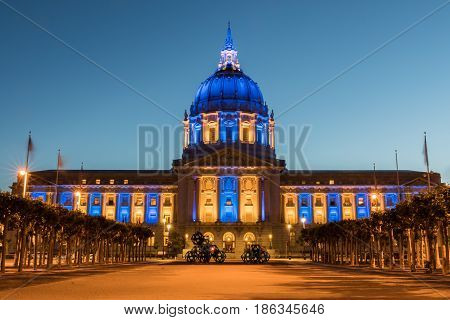 San Francisco City Hall in Golden State Warriors Colors. Civic Center, San Francisco, California, USA
