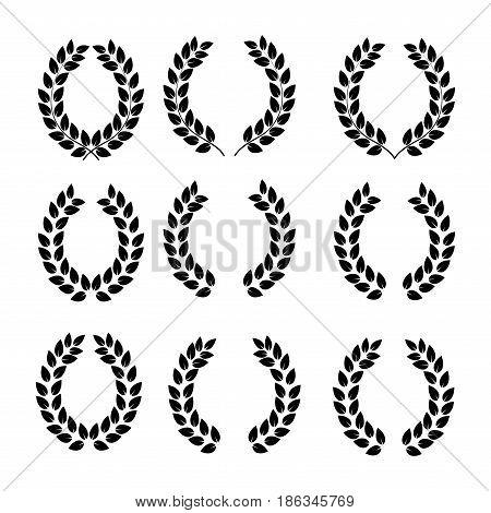 Laurel wreath set. Modern symbol of victory and award achievement champion. Leaf ceremony awarding of winner tournament. Monochrome template for badge tag. Design element. Vector illustration
