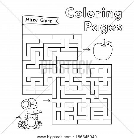 Cartoon mouse maze game. Vector coloring book pages for children