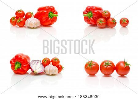 Cherry tomatoes garlic and onions on a white background. Horizontal photo.