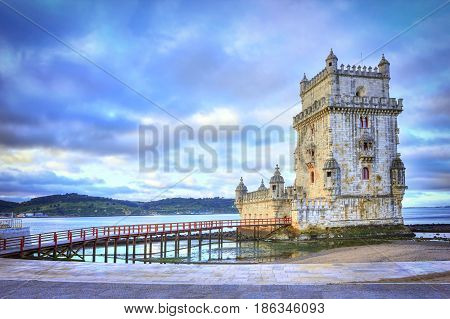 Beautiful Belem Tower On A Cloudy Day In Lisbon, Portugal