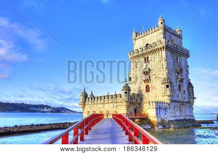 Vew On Belem Tower On The Bank Of Tagus River