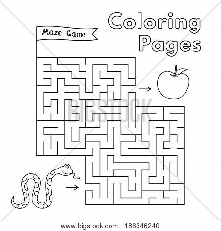 Cartoon snake maze game. Vector coloring book pages for children