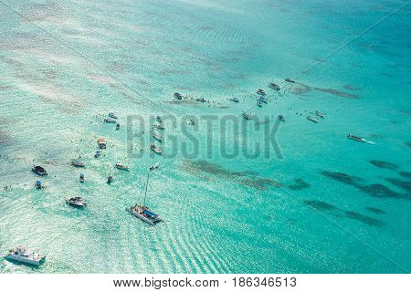 Aerial View Of Caribbean Sea From A Helicopter, Dominican Republic