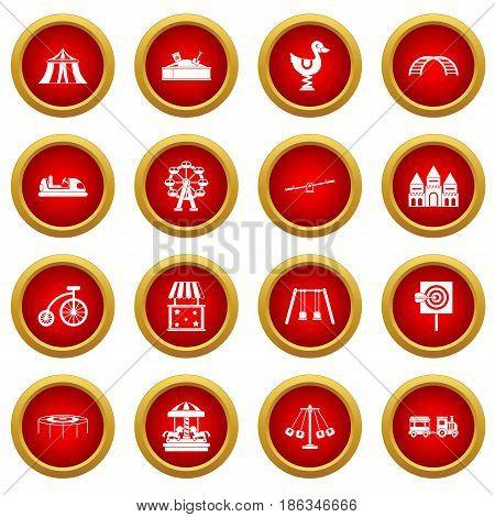 Amusement park icon red circle set isolated on white background
