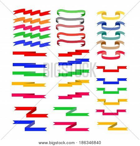 Flat ribbon color set. Emblem modern symbol of award. Blank sticker labeling. Elegant form of the logo for sale. Colorful template for badge tag wrapping etc. Design element. Vector illustration