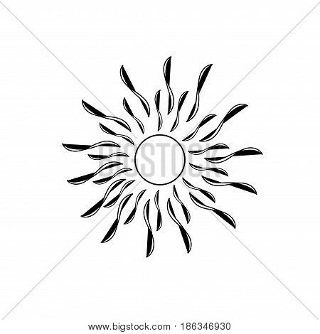 The sun black sign on white background. Black solar mark. Bright sunny icon good mood. Isolated logo spring summer. Symbol hot warm sunlight. Flat vector image. Vector illustration.