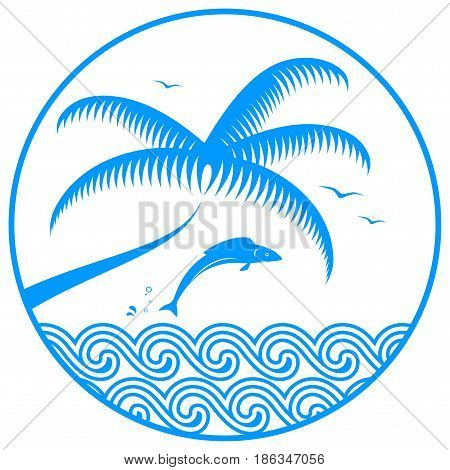 vector jumping fish over the sea and palm tree in round